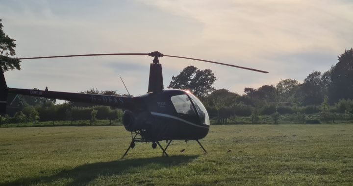 Robinson R22 helicopter at a private site