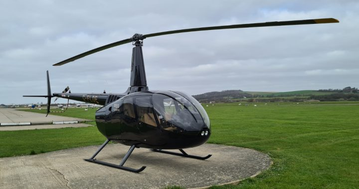 R66 helicopter on the pad at Advance Helicopters
